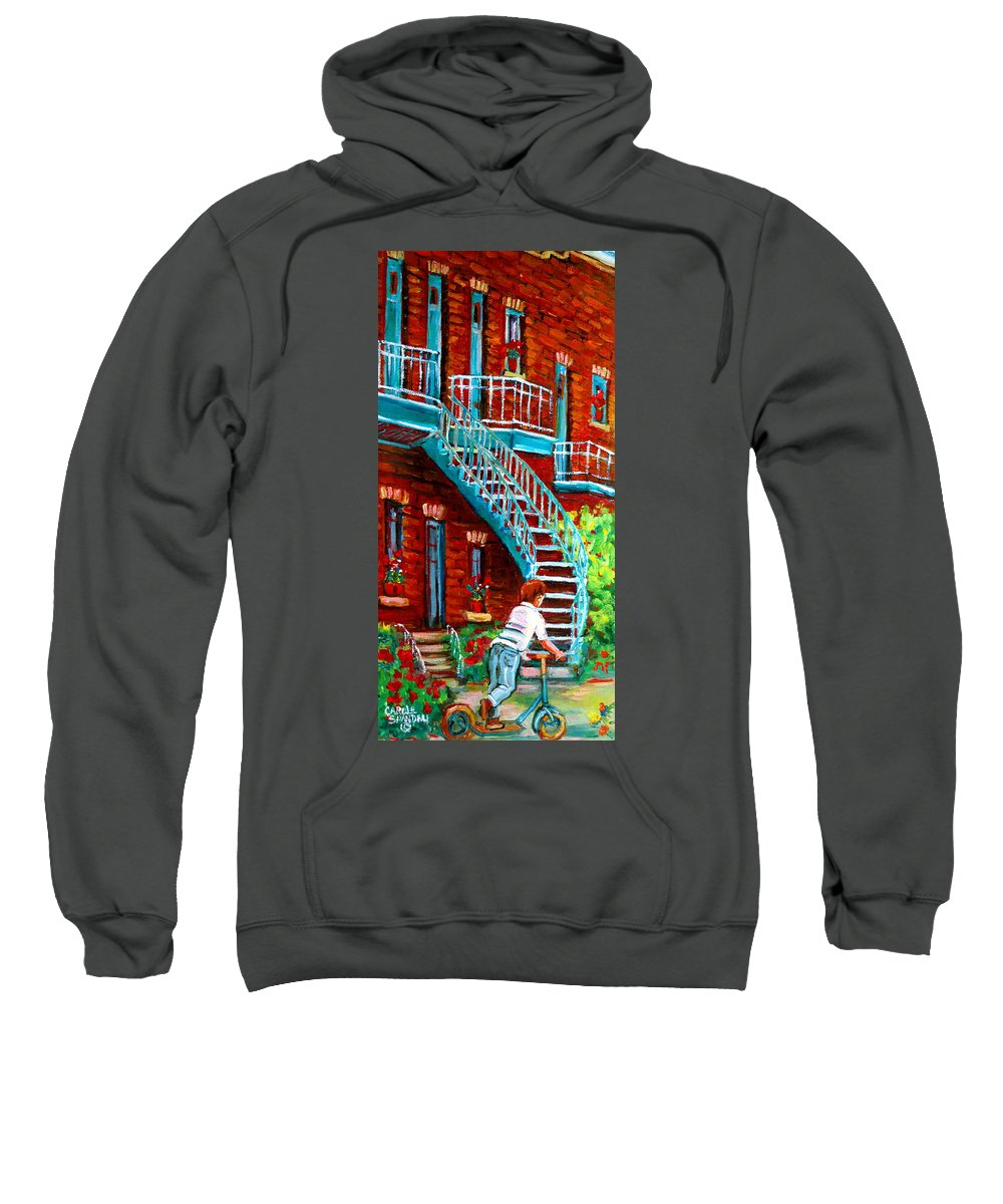Debullion Street Sweatshirt featuring the painting Scooter Ride Along Coloniale Street by Carole Spandau