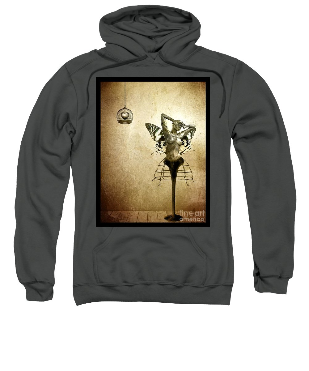 Digital Sweatshirt featuring the painting Scream Of A Butterfly by Jacky Gerritsen