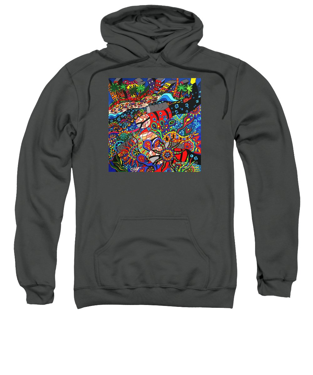 Beach Tourism Sweatshirt featuring the painting Scuba Down Under by Karen Elzinga