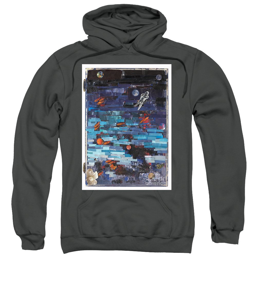 Astronaut Sweatshirt featuring the mixed media Sea Space by Jaime Becker