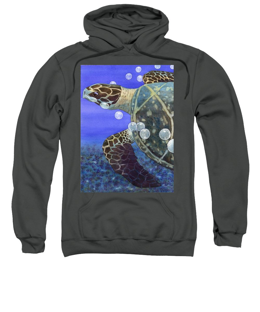 Turtle Sweatshirt featuring the painting Sea Turtle by Catherine G McElroy