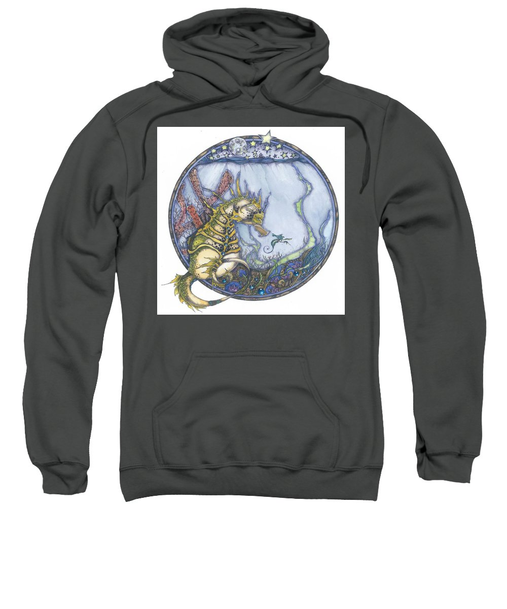 Seahorse Sweatshirt featuring the mixed media Seabound by Eileen King