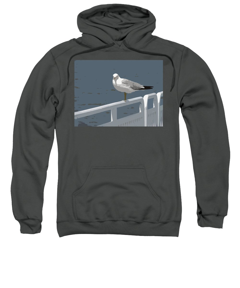 Seagull Sweatshirt featuring the photograph Seagull On The Rail by Michelle Calkins