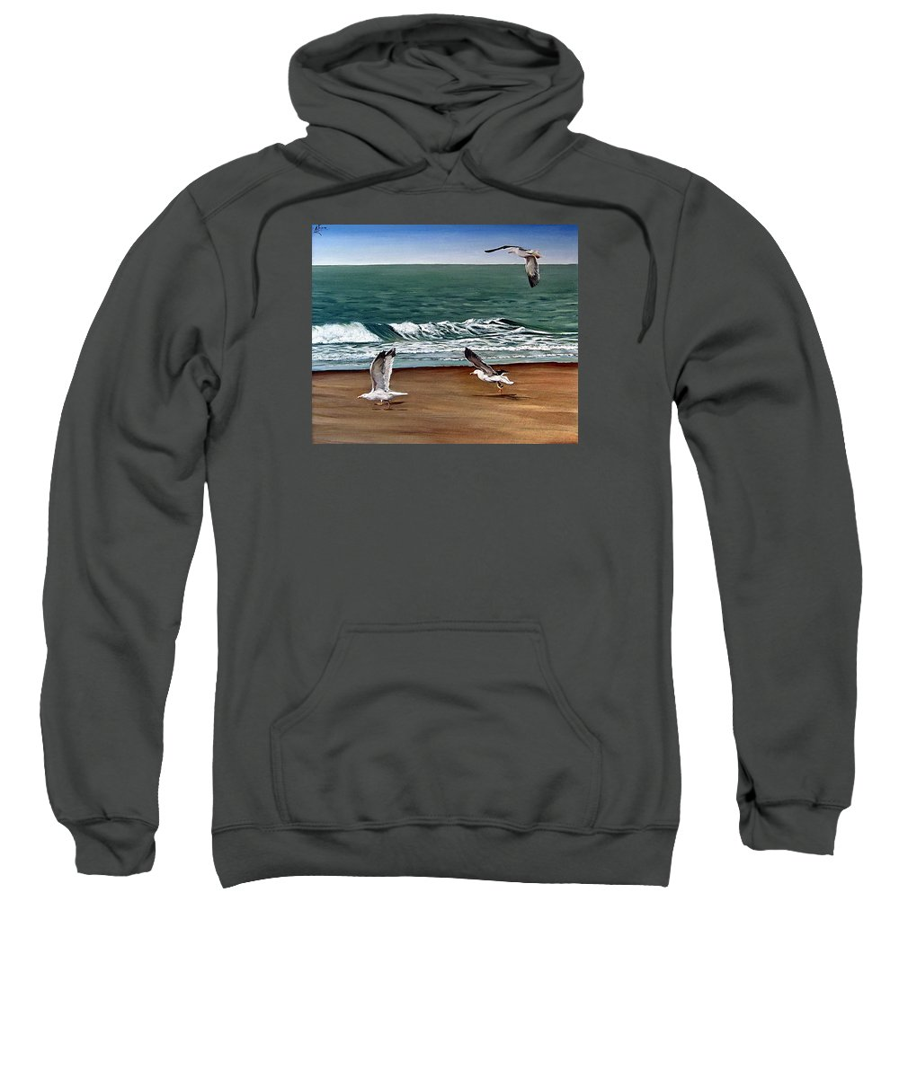 Seascape Sweatshirt featuring the painting Seagulls 2 by Natalia Tejera