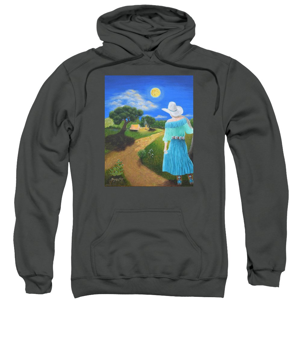 Cowgirl Sweatshirt featuring the painting Searching For Her Elusive Cowboy by Belinda Nagy