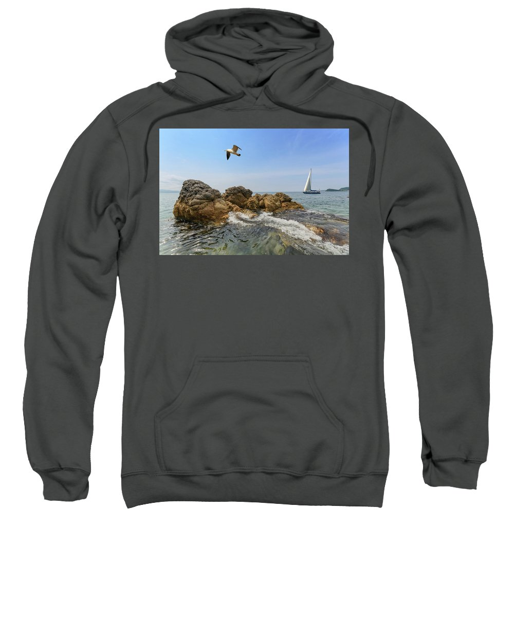Sea Sweatshirt featuring the photograph Seascape With A Yacht by Vladimir Belogorokhov