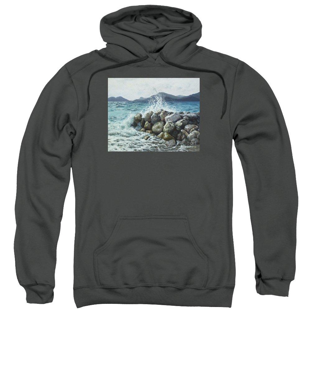 Seaside Sweatshirt featuring the painting Seaside by Anna Starkova