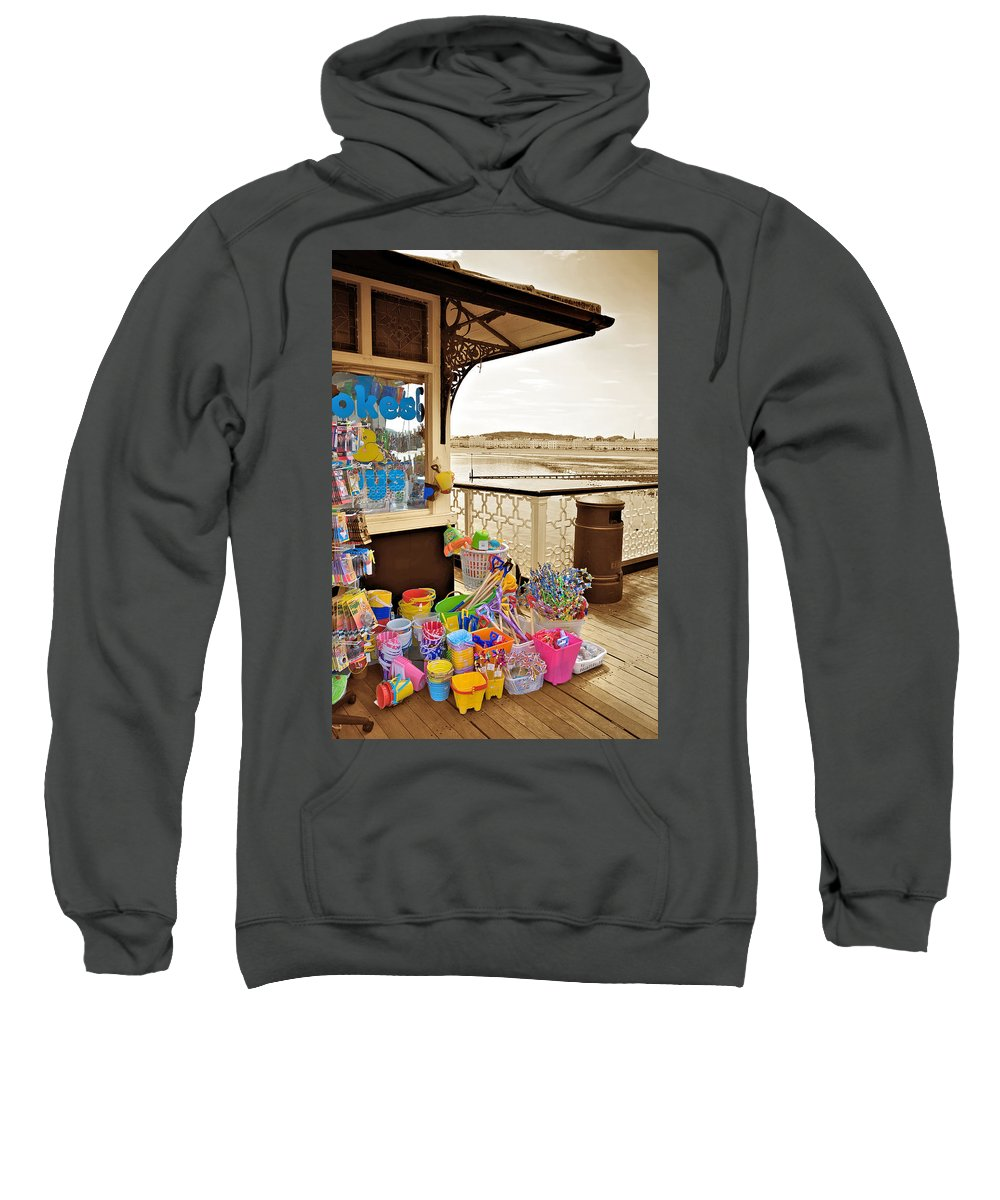 Seaside Sweatshirt featuring the photograph Seaside Buckets And Spades For Sale On Llandudno Pier by Mal Bray
