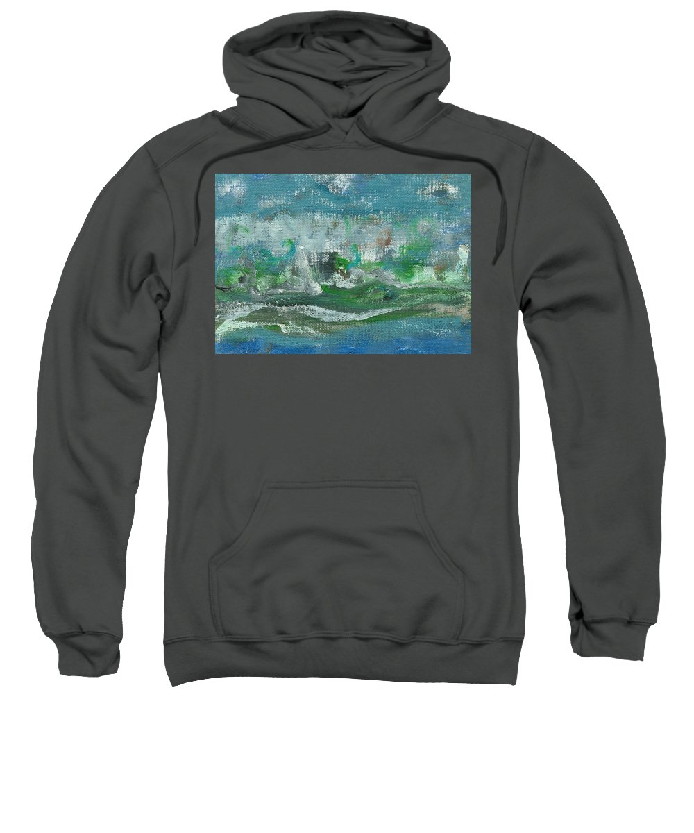 Seascape Sweatshirt featuring the painting Seawaves by Jorge Delara