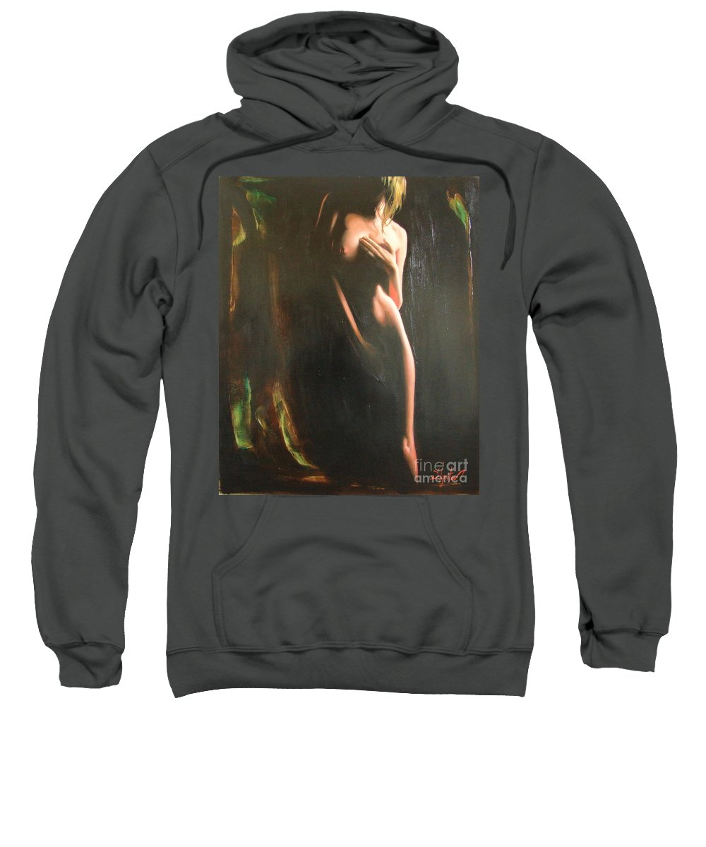 Art Sweatshirt featuring the painting Secrets by Sergey Ignatenko