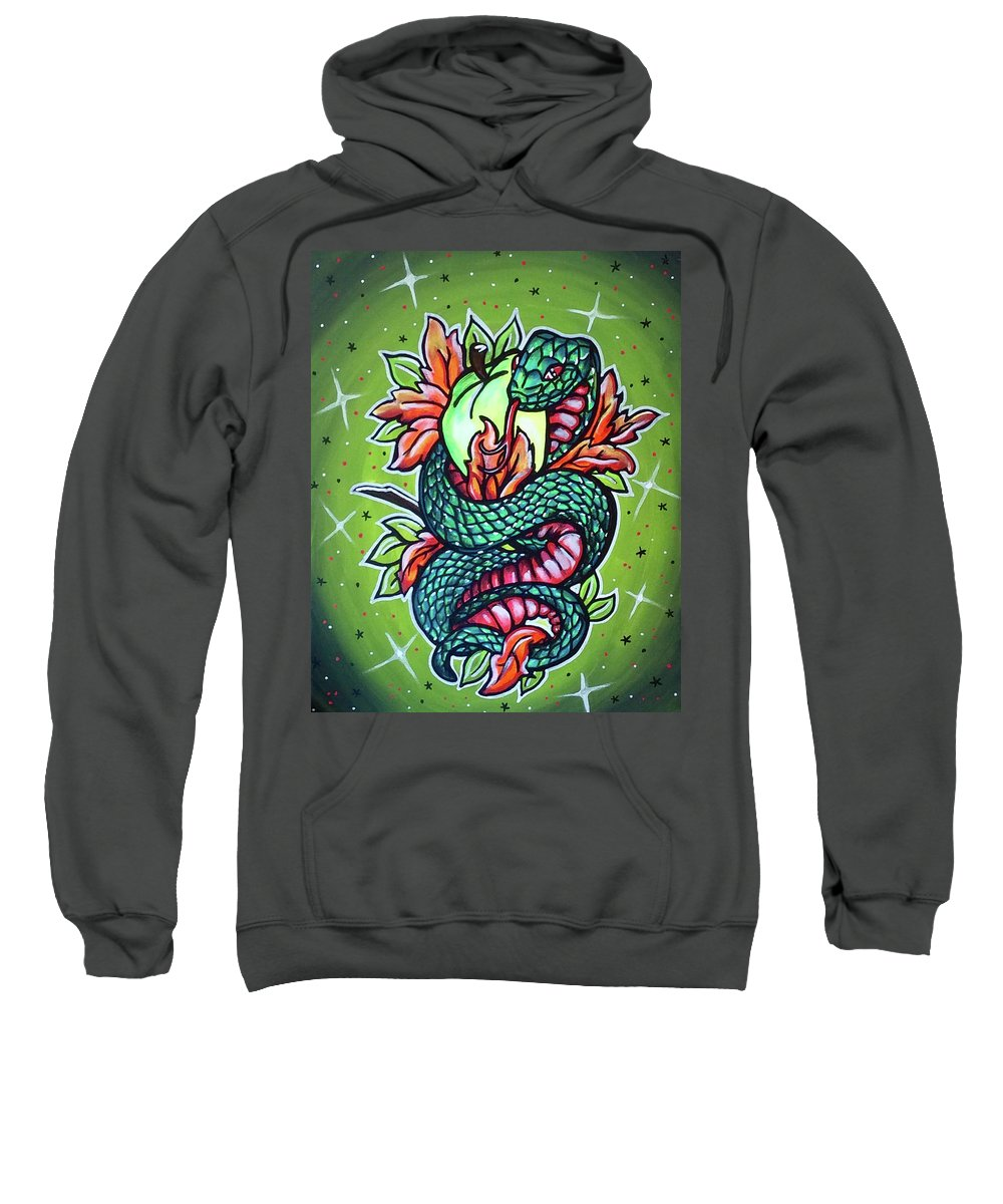 Tattoo Sailor Jerry Snake Apple Bite Flash Leaves Abstract Color Colorful Fade Sweatshirt featuring the painting Seduction by Lori Teich