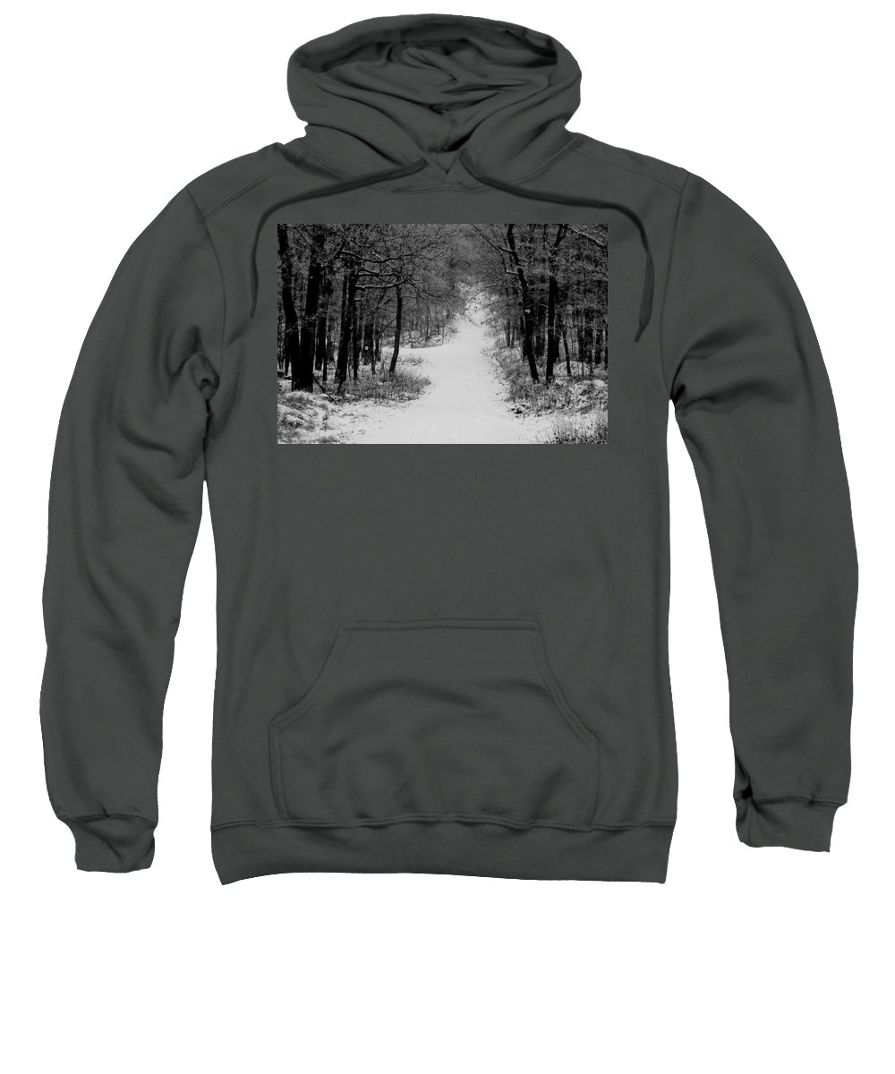 Snow Sweatshirt featuring the photograph See Where It Leads. by Jean Macaluso