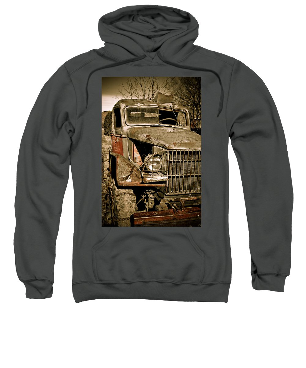 Old Vintage Antique Truck Worn Western Sweatshirt featuring the photograph Seen Better Days by Marilyn Hunt