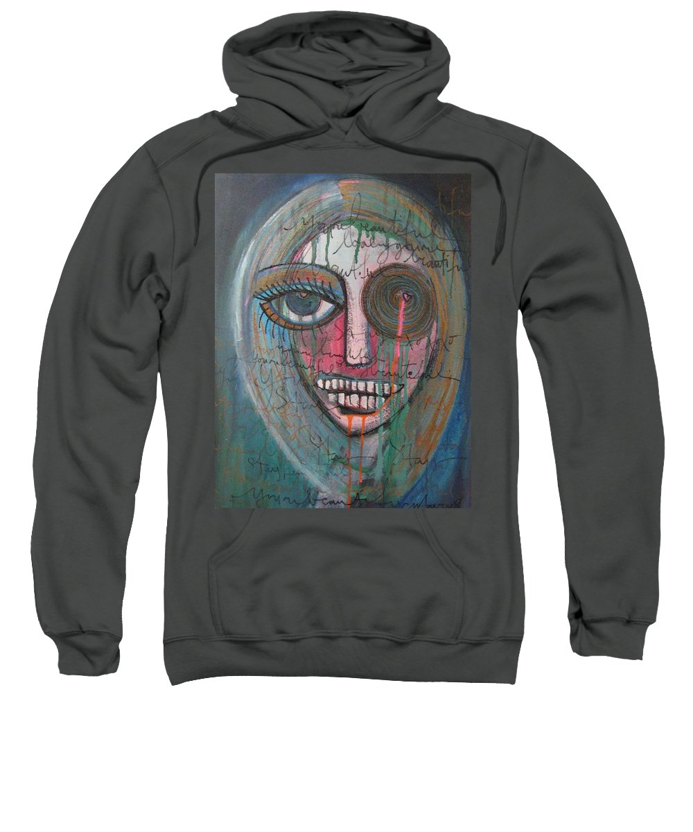 Self Portraits Sweatshirt featuring the painting Self Portrait Youre Beautiful by Laurie Maves ART