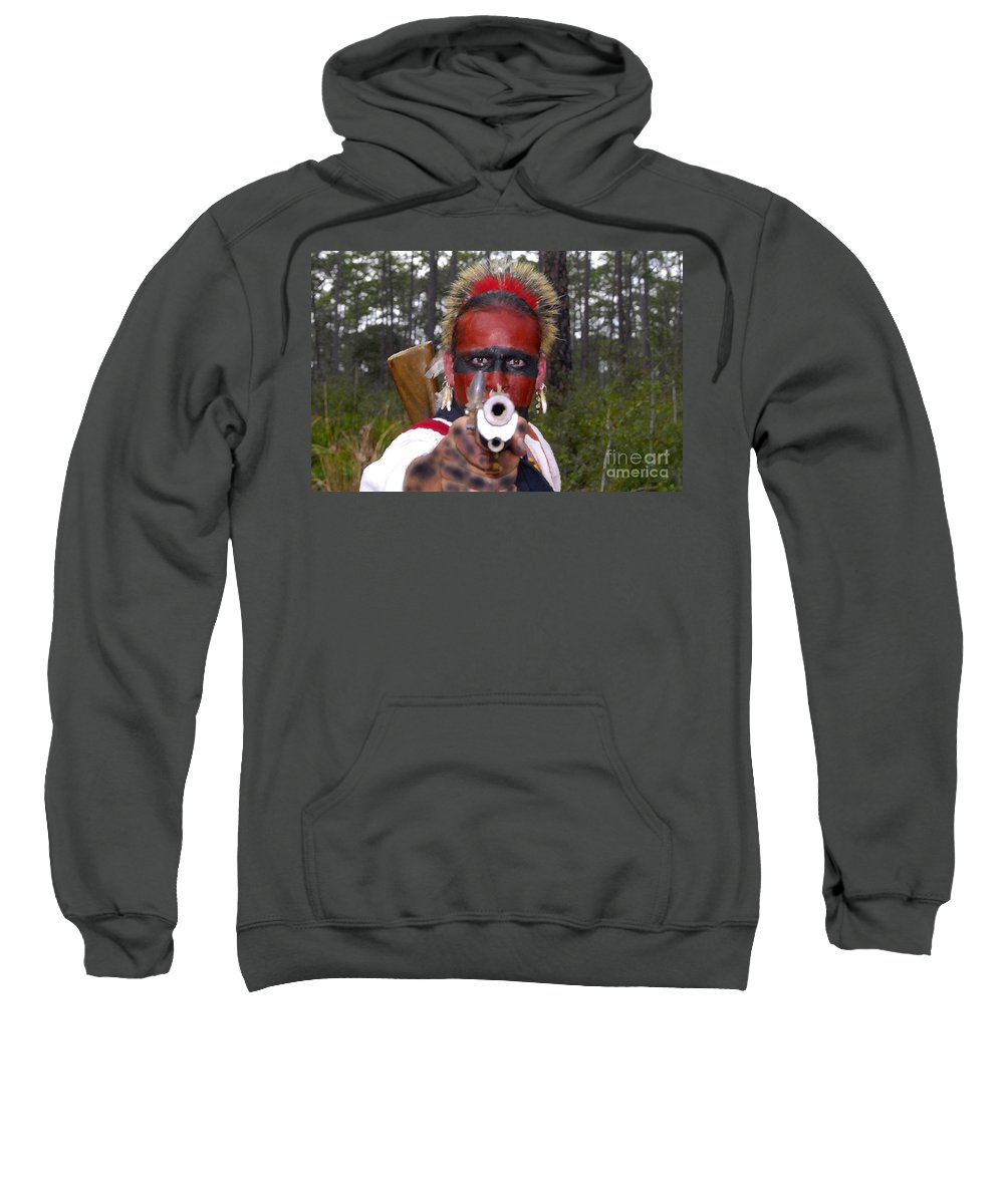 Seminole Indian Sweatshirt featuring the photograph Seminole Warrior by David Lee Thompson