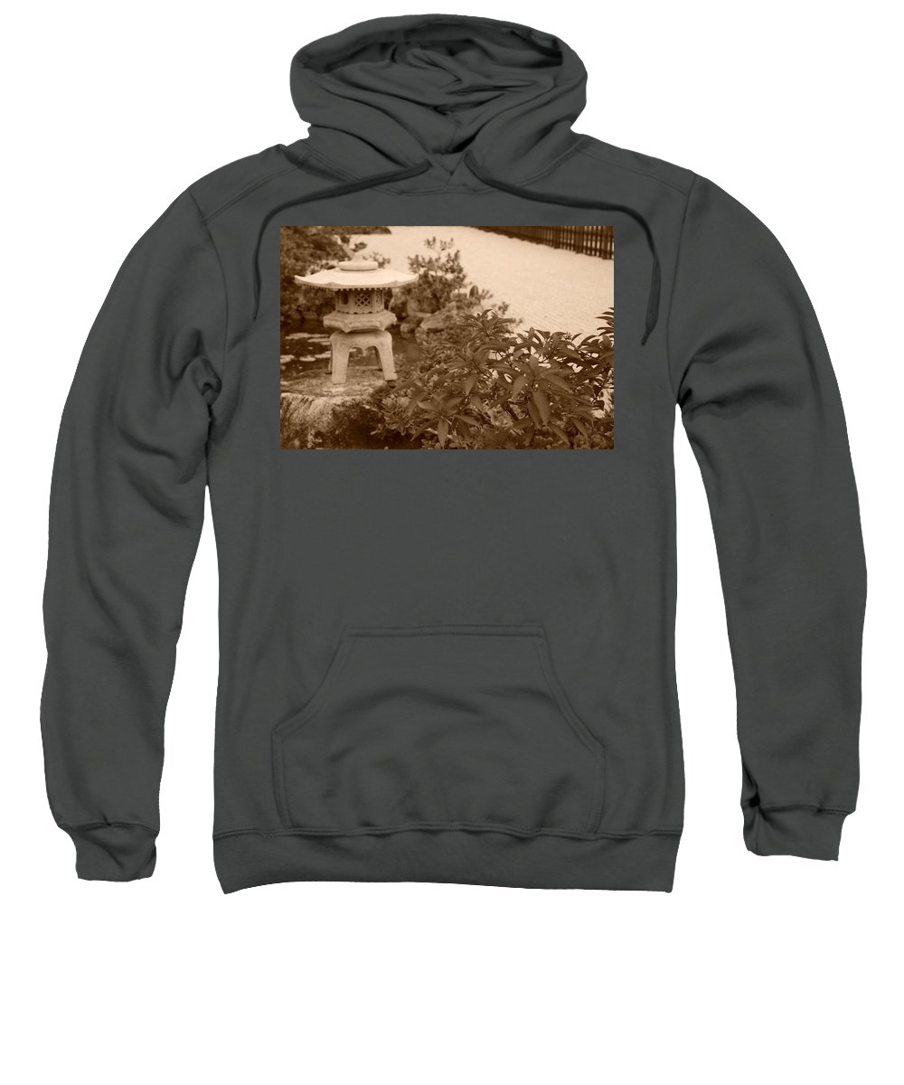 Sepia Sweatshirt featuring the photograph Sepia Japanese Garden by Rob Hans