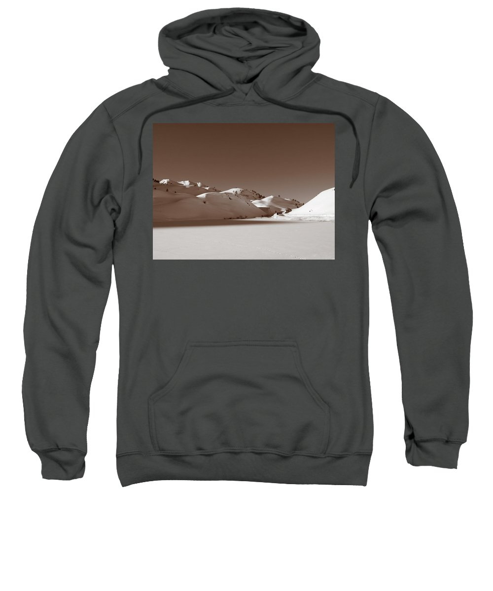 Ancient Sweatshirt featuring the photograph Sepia-toned Mountain Landscape by Stefania Levi