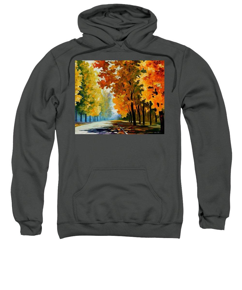Afremov Sweatshirt featuring the painting September Morning by Leonid Afremov