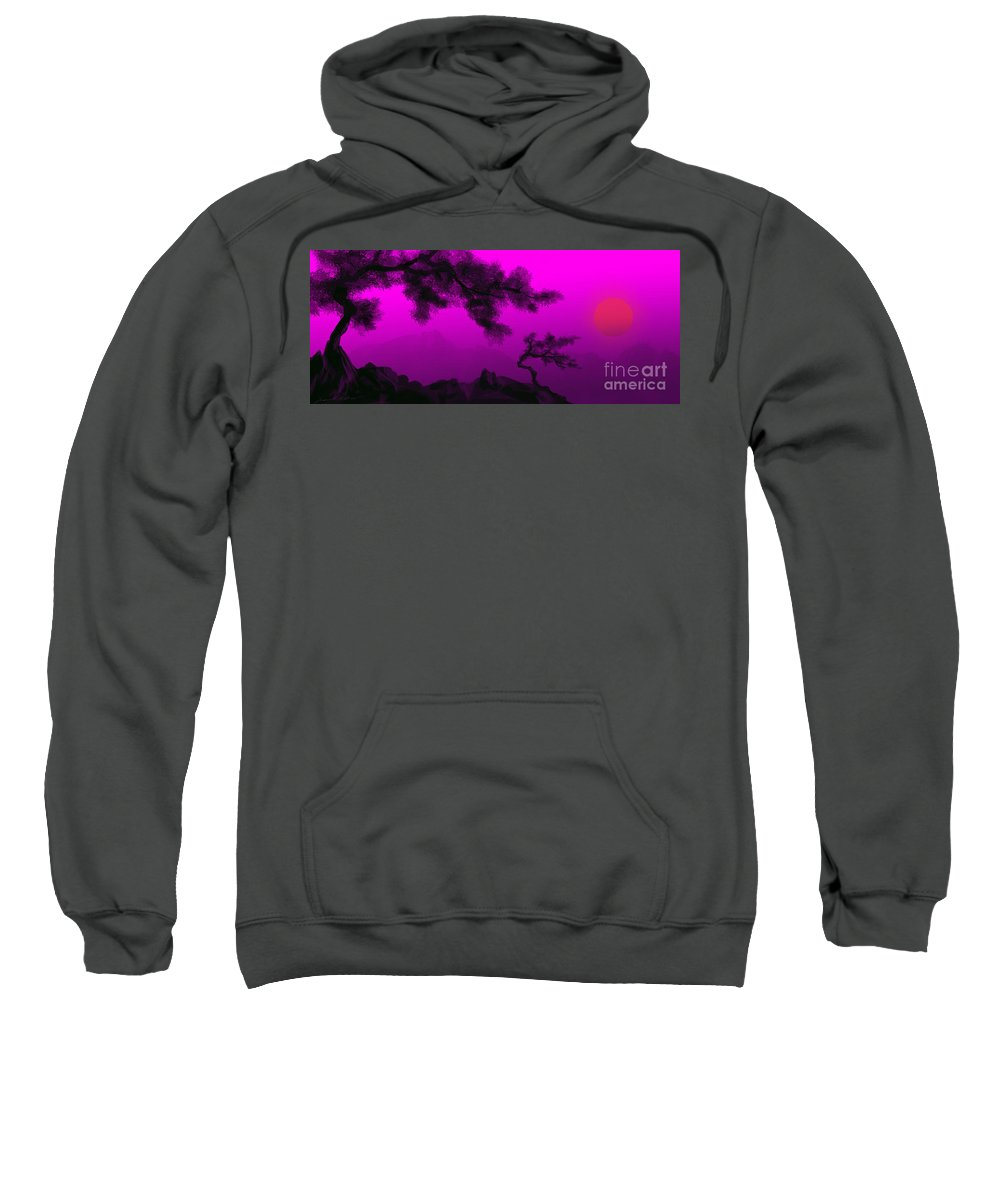 Japanese; Sunset; Mountains; Trees; Rising; Sun; Contemporary; Purple; Pink;sunrise; Sunset Sweatshirt featuring the painting Serenity by James Christopher Hill