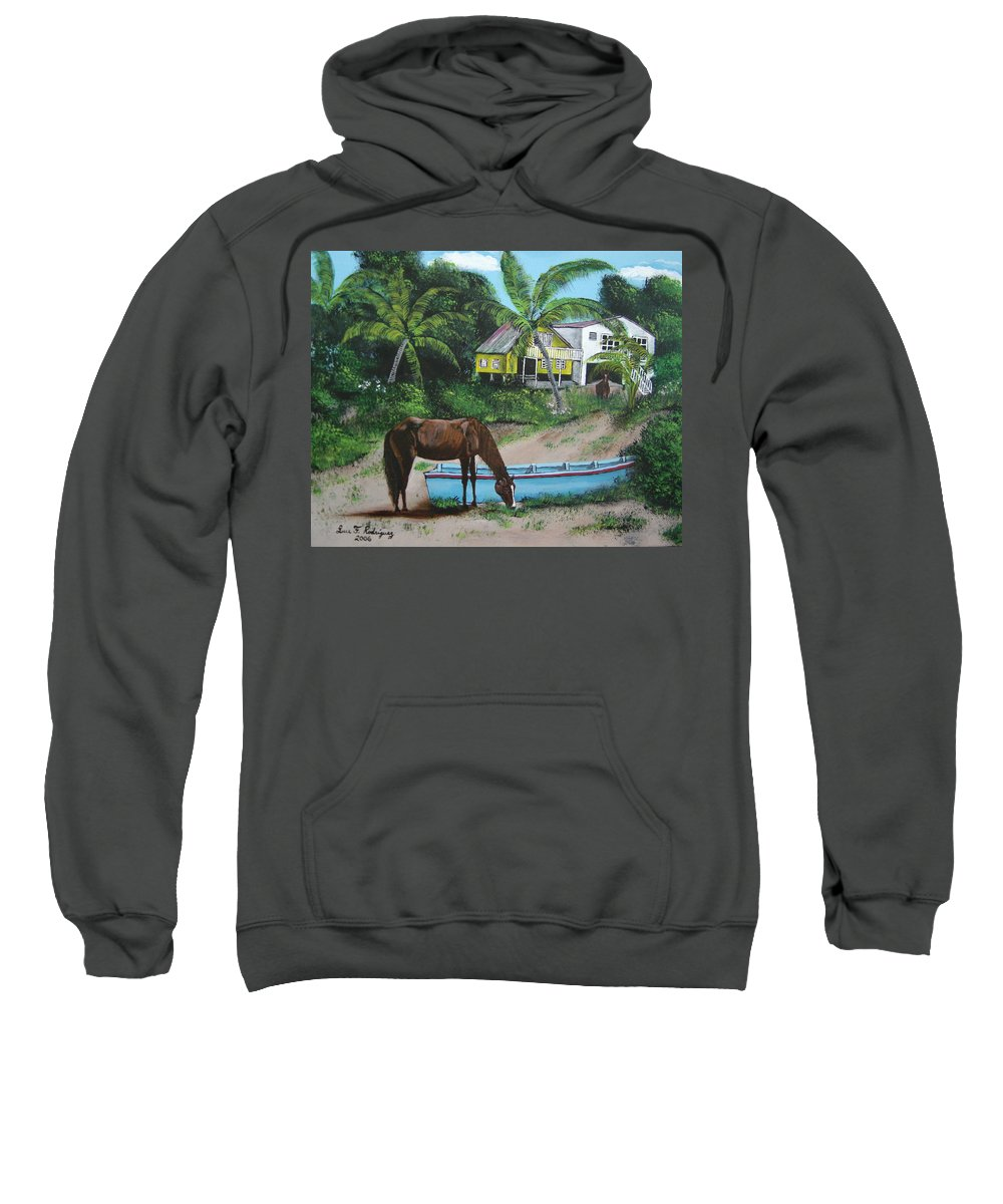 Aguadilla Sweatshirt featuring the painting Serenity by Luis F Rodriguez