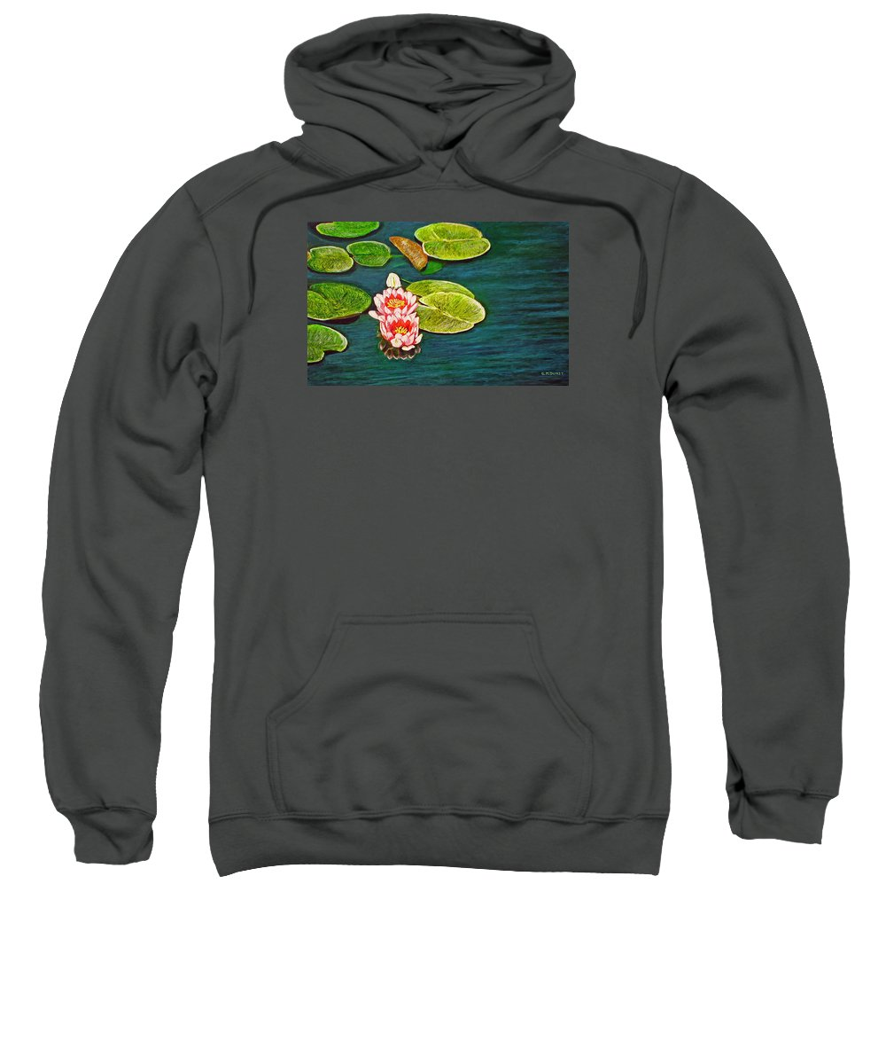 Water Lily Sweatshirt featuring the painting Serenity by Michael Durst
