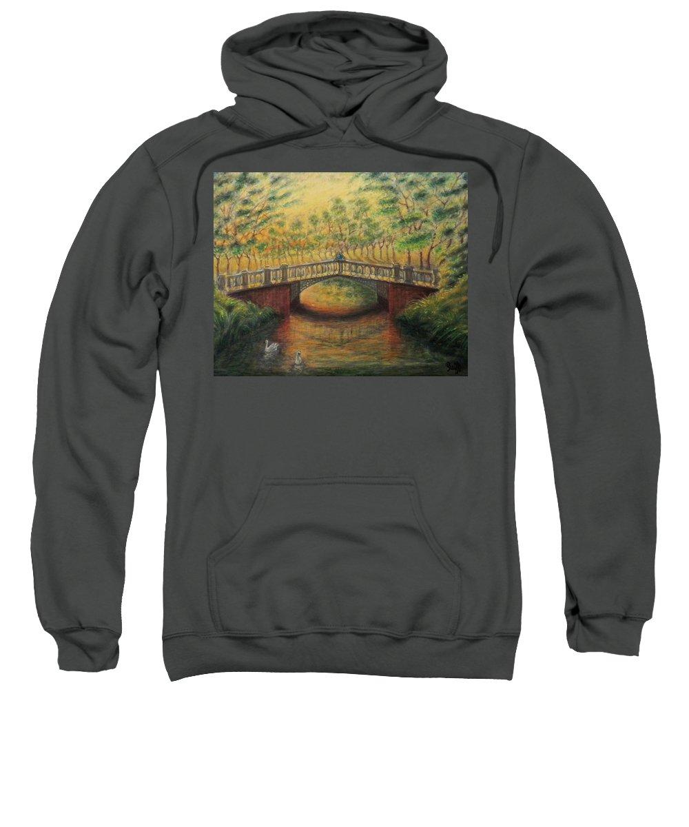 Bridge Sweatshirt featuring the painting Serenity by Raffi Jacobian