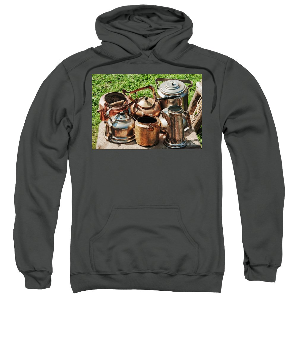 Ancient Sweatshirt featuring the photograph Set Of Ancient Teapots by Vadzim Kandratsenkau