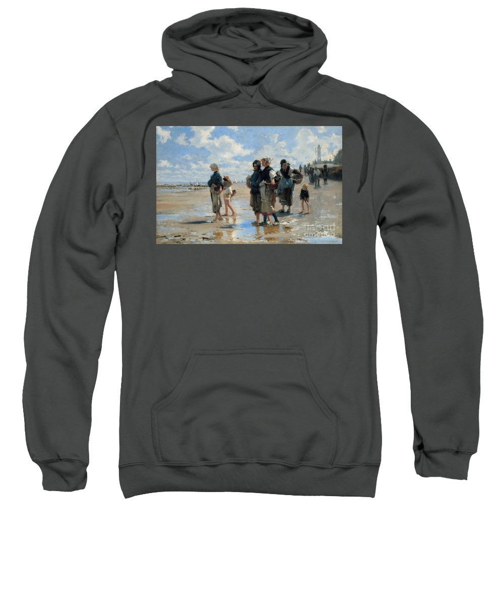 Sargent Sweatshirt featuring the painting Setting Out To Fish by John Singer Sargent