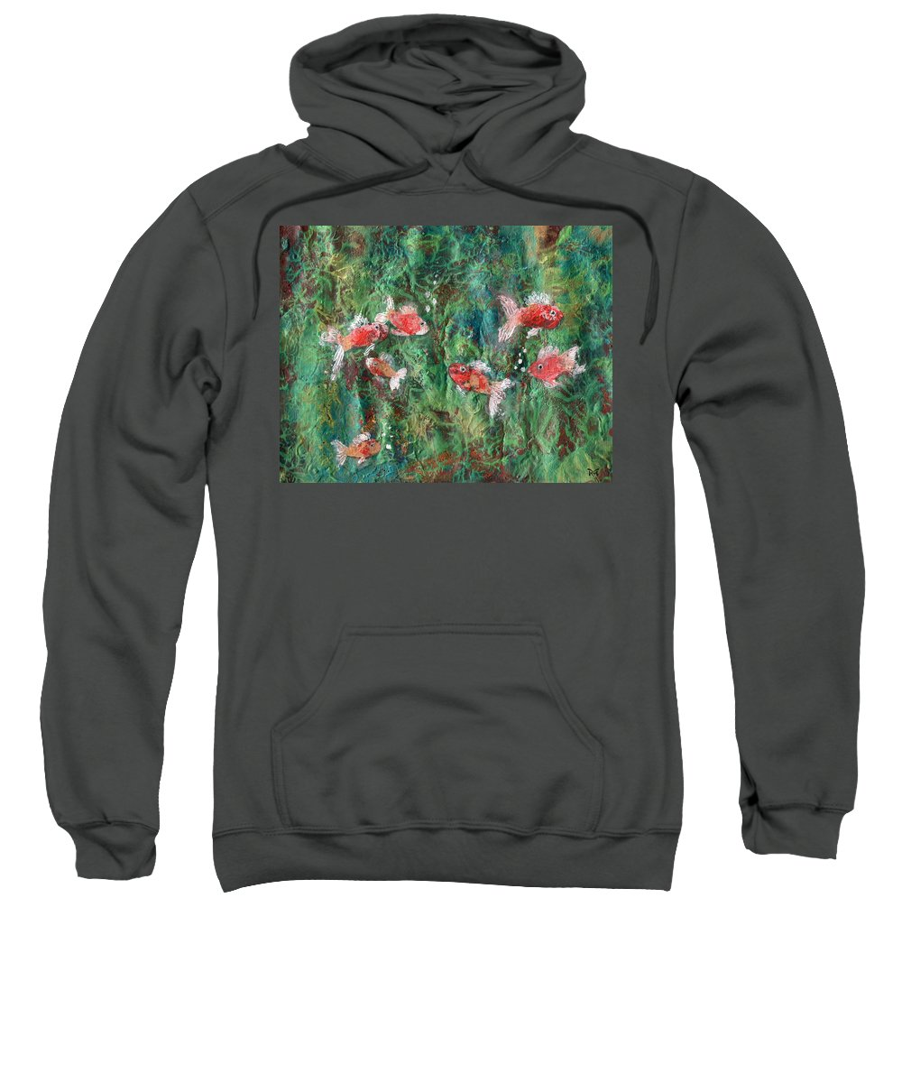 Acrylic Sweatshirt featuring the painting Seven Little Fishies by Maria Watt