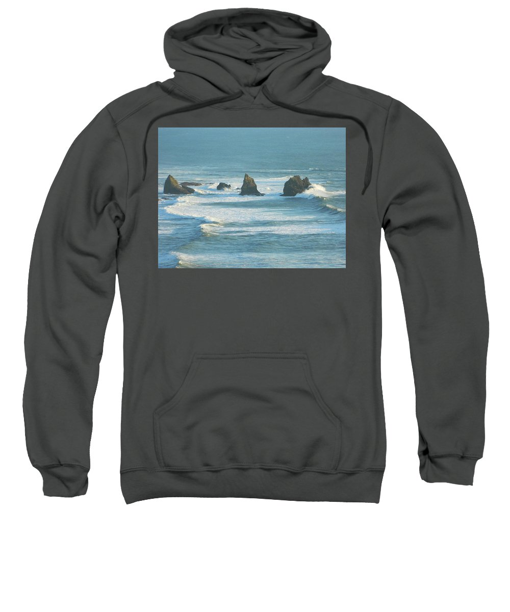 Oregon Sweatshirt featuring the photograph Shadowed Waves by Gallery Of Hope