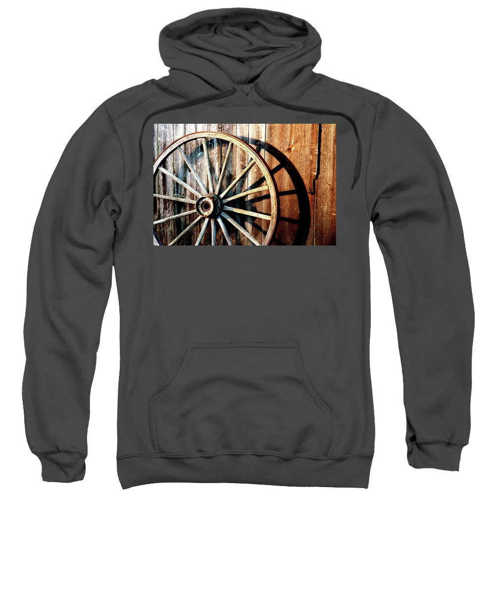 Wagon Wheel Sweatshirt featuring the photograph Shadows Of The Past by Greg Fortier