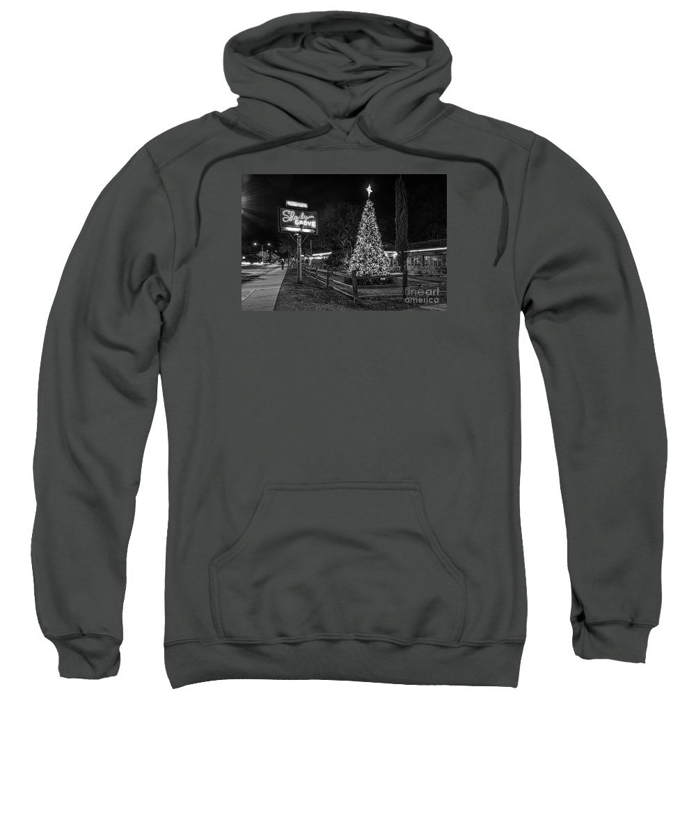Austin Sweatshirt featuring the photograph Shady Grove Austin Bw by Tod and Cynthia Grubbs