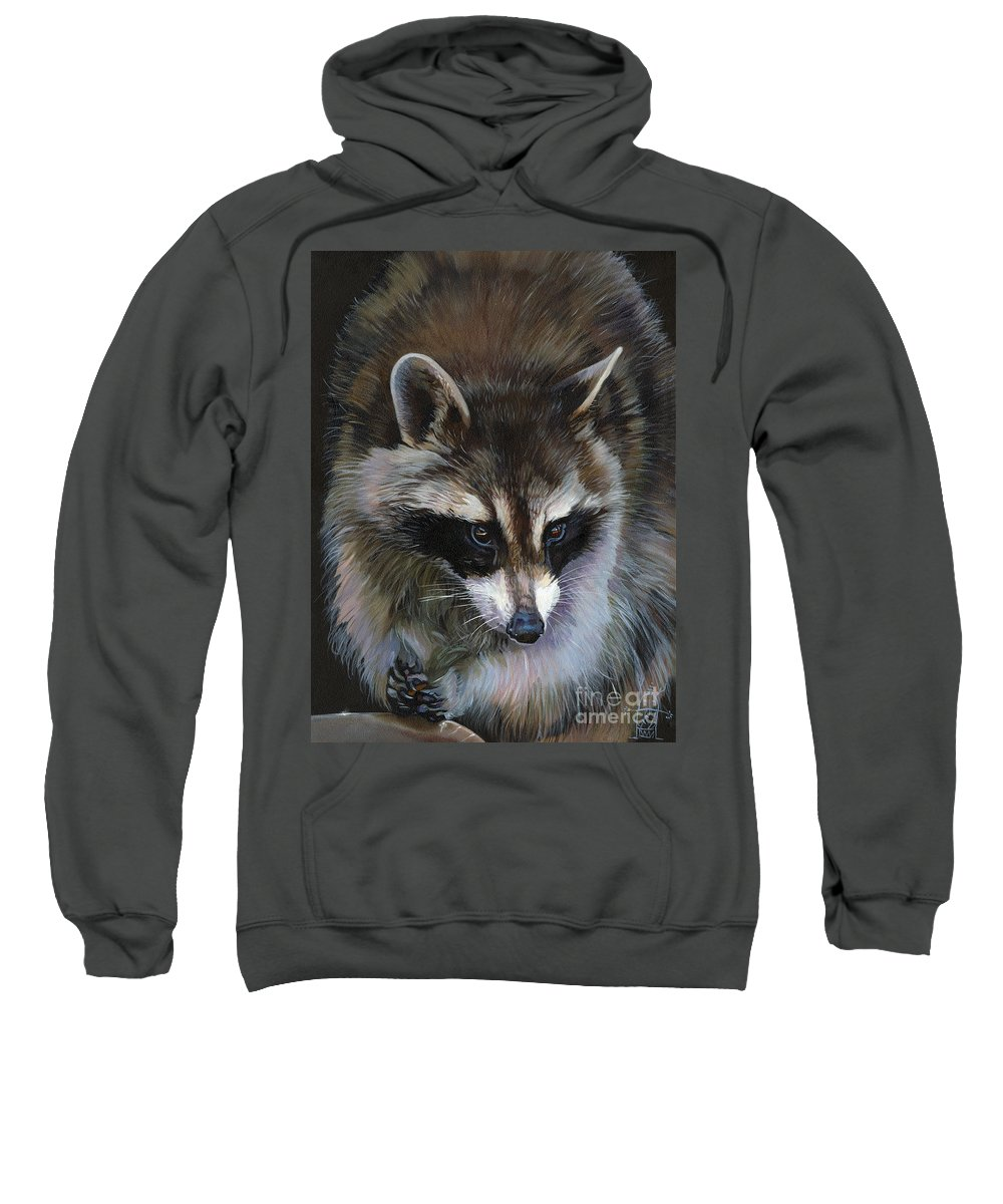 Raccoon Sweatshirt featuring the painting Shaken not stirred by J W Baker