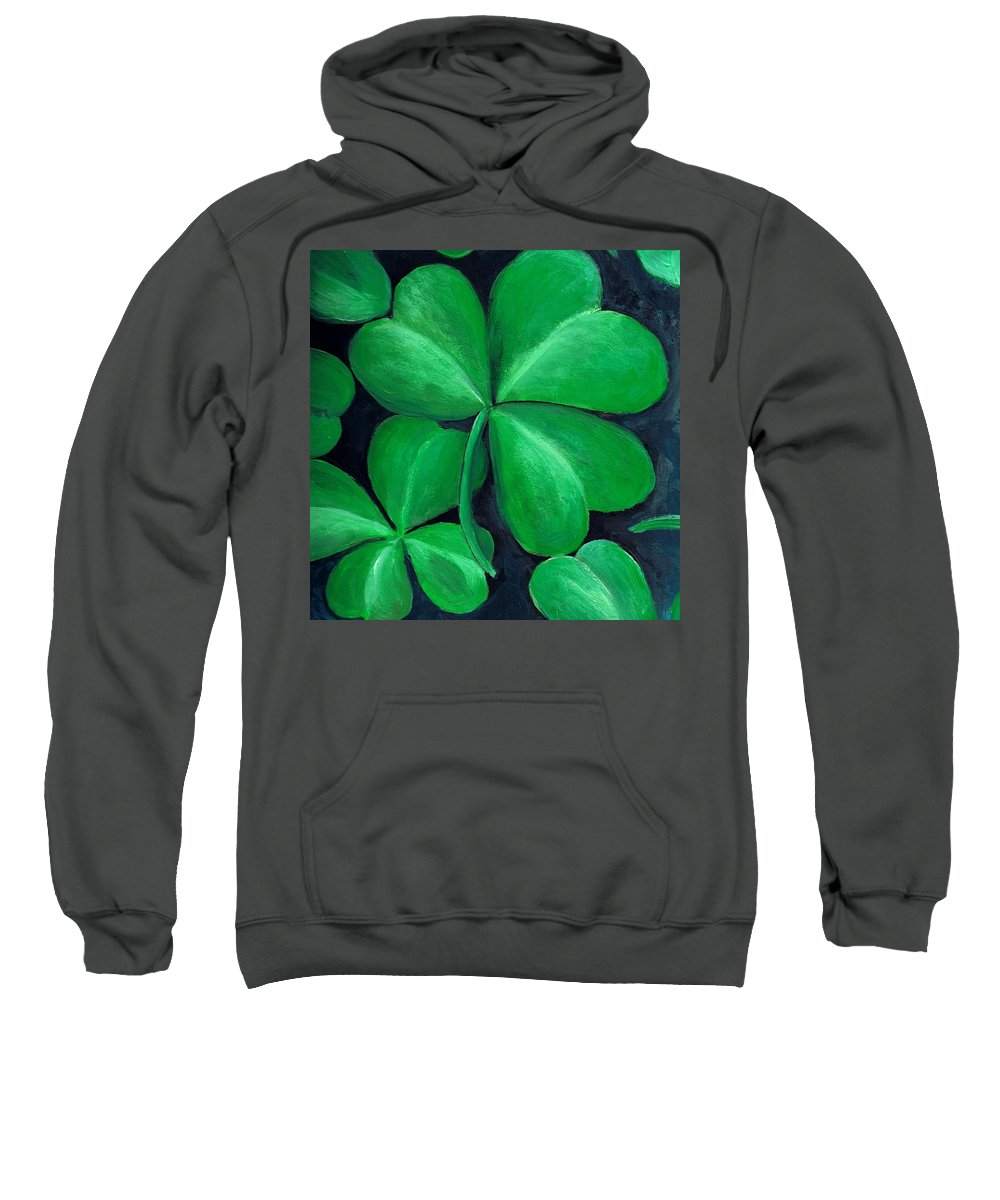 Shamrock Sweatshirt featuring the painting Shamrocks by Nancy Mueller