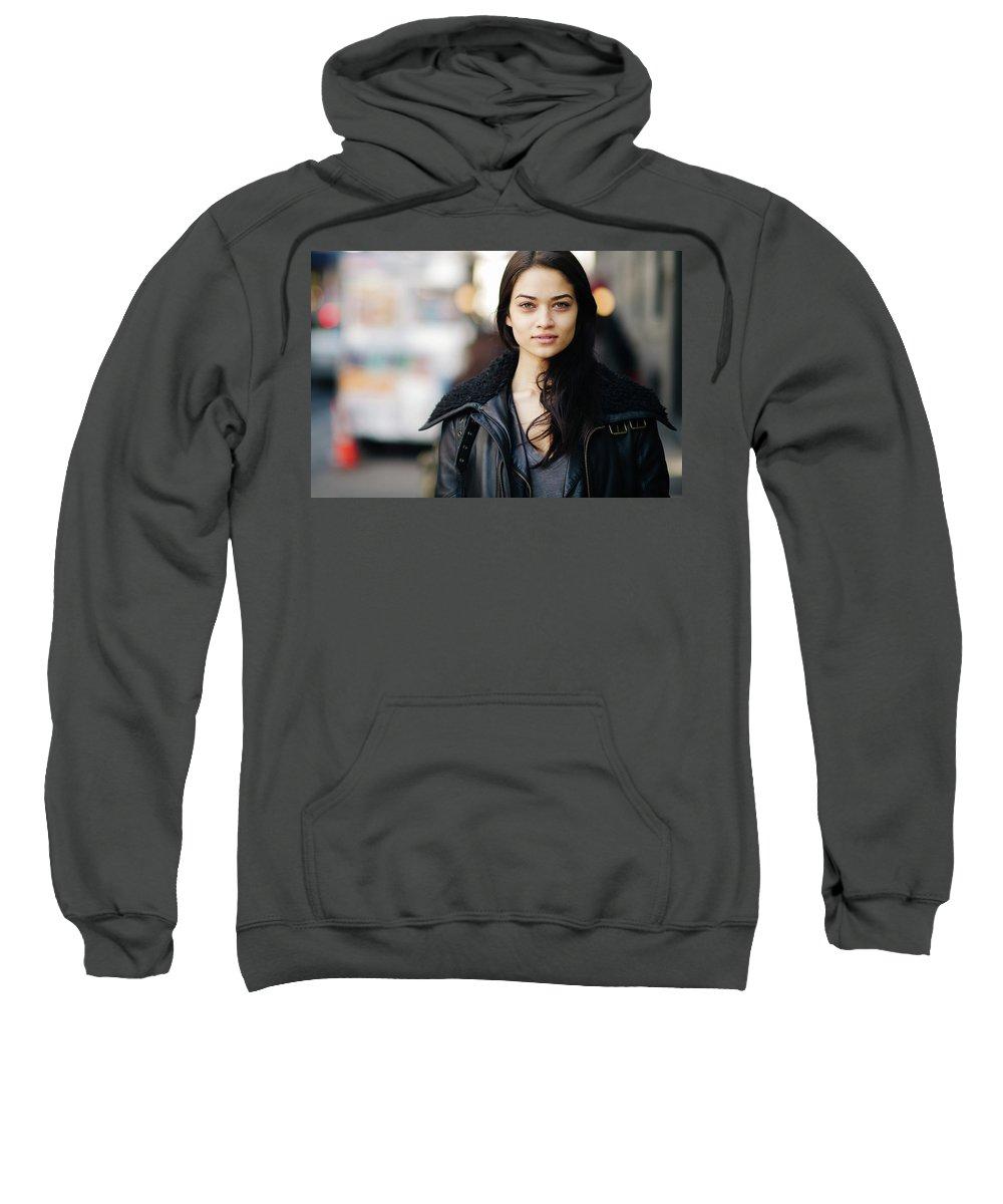 Shanina Shaik Sweatshirt featuring the digital art Shanina Shaik by Bert Mailer
