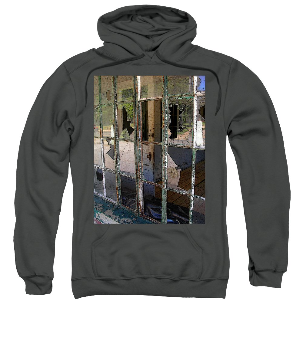 Window Sweatshirt featuring the photograph Shattered by Anne Cameron Cutri