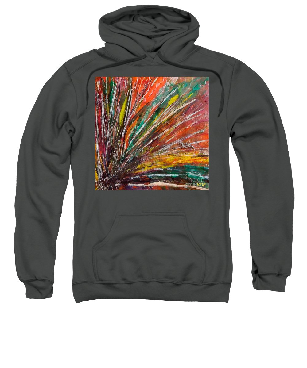 Encaustic Painting Sweatshirt featuring the painting She Is Angry by Dragica Micki Fortuna