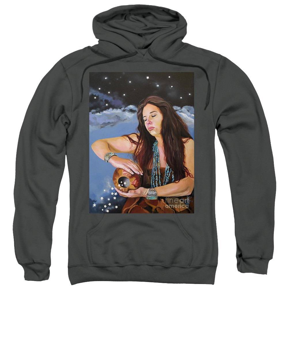 Medicine Woman Sweatshirt featuring the painting She Paints with Stars by J W Baker