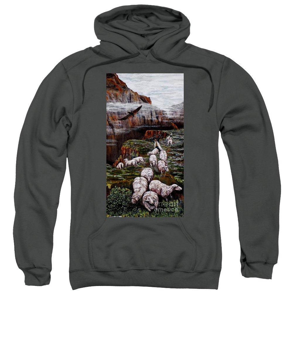 Sheep Sweatshirt featuring the painting Sheep In The Mountains by Judy Kirouac