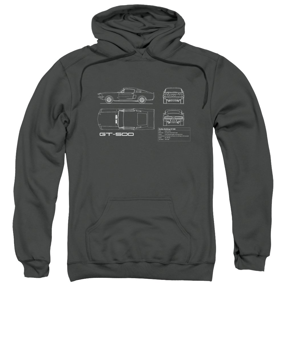Ford Mustang Sweatshirt featuring the photograph Shelby Mustang Gt500 Blueprint - Red by Mark Rogan