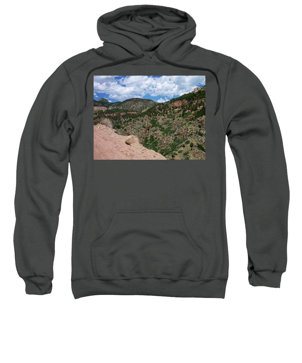 Shelf Road Sweatshirt featuring the photograph Shelf Road Drop Off by Anita Burgermeister