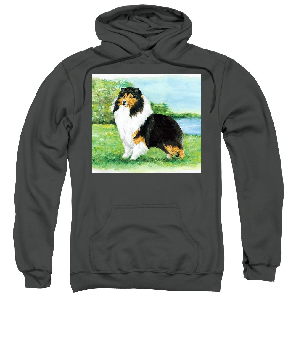 Shetland Sheepdog Sweatshirt featuring the painting Sheltie Wait by Kathleen Sepulveda