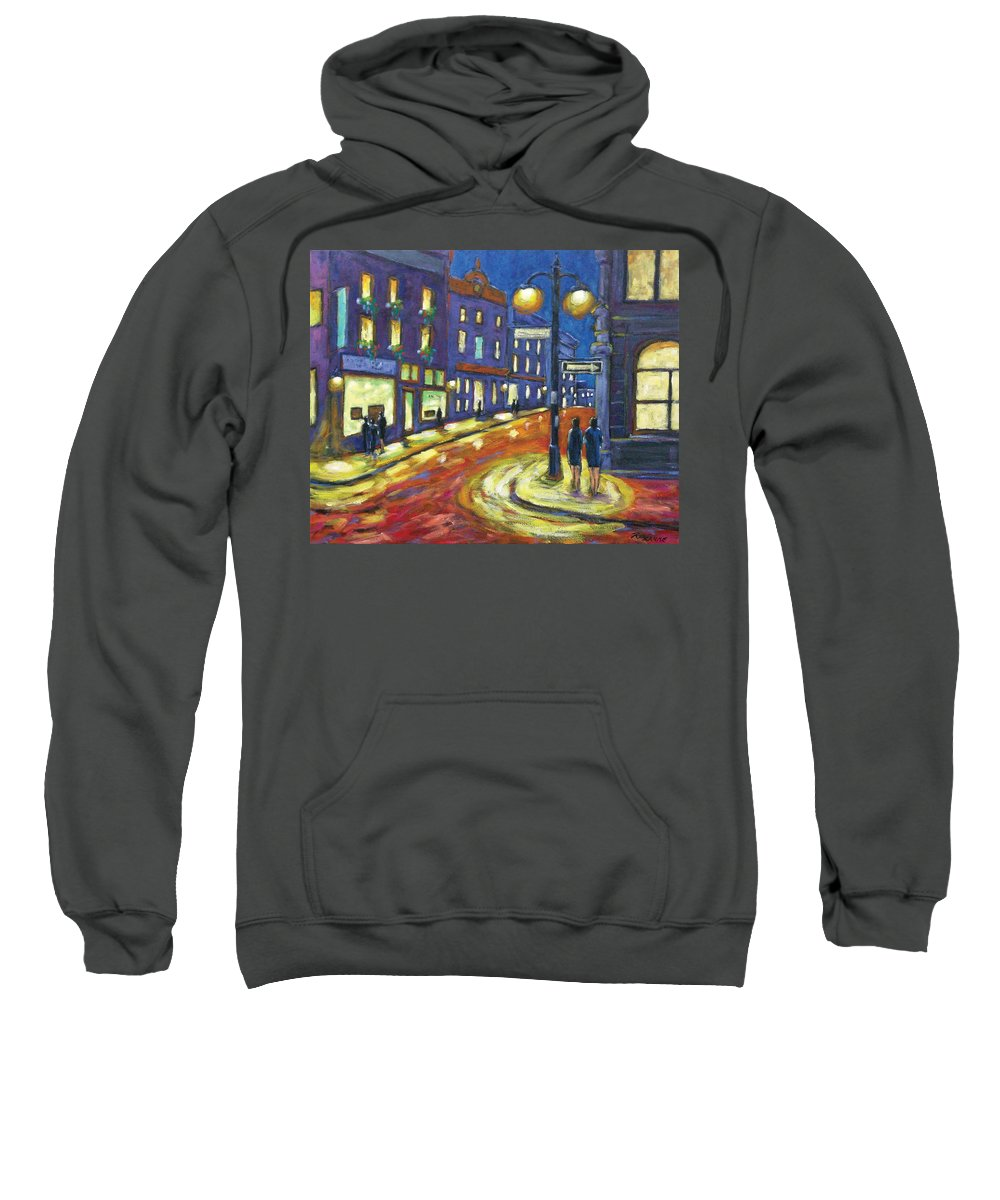 Night Sweatshirt featuring the painting Shimmering Night by Richard T Pranke