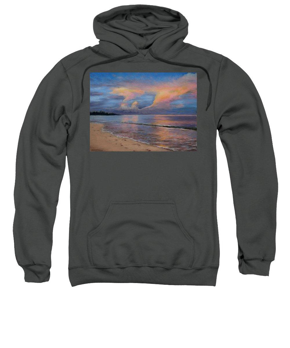 Landscape Sweatshirt featuring the pastel Shore Of Solitude by Susan Jenkins