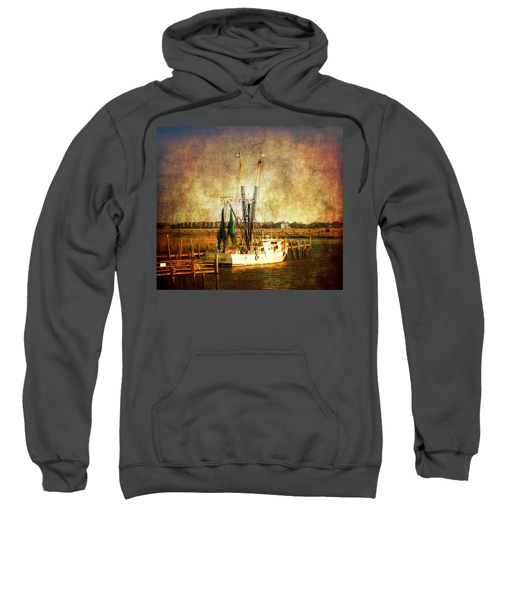 Shrimp Boat Sweatshirt featuring the photograph Shrimp Boat In Charleston by Susanne Van Hulst