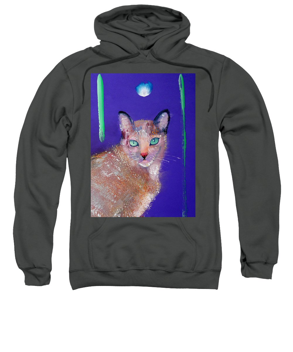 Cat Sweatshirt featuring the painting Siamese Cat by Charles Stuart