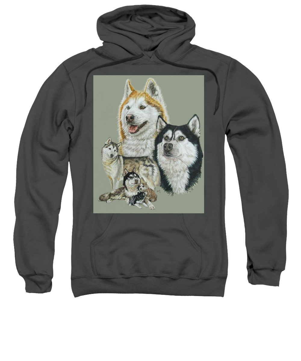 Purebred Dogs Sweatshirt featuring the drawing Siberian Husky by Barbara Keith