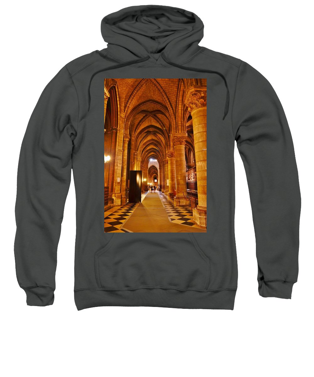 Notre Dame Sweatshirt featuring the photograph Side Hall Notre Dame Cathedral - Paris by Kim Bemis