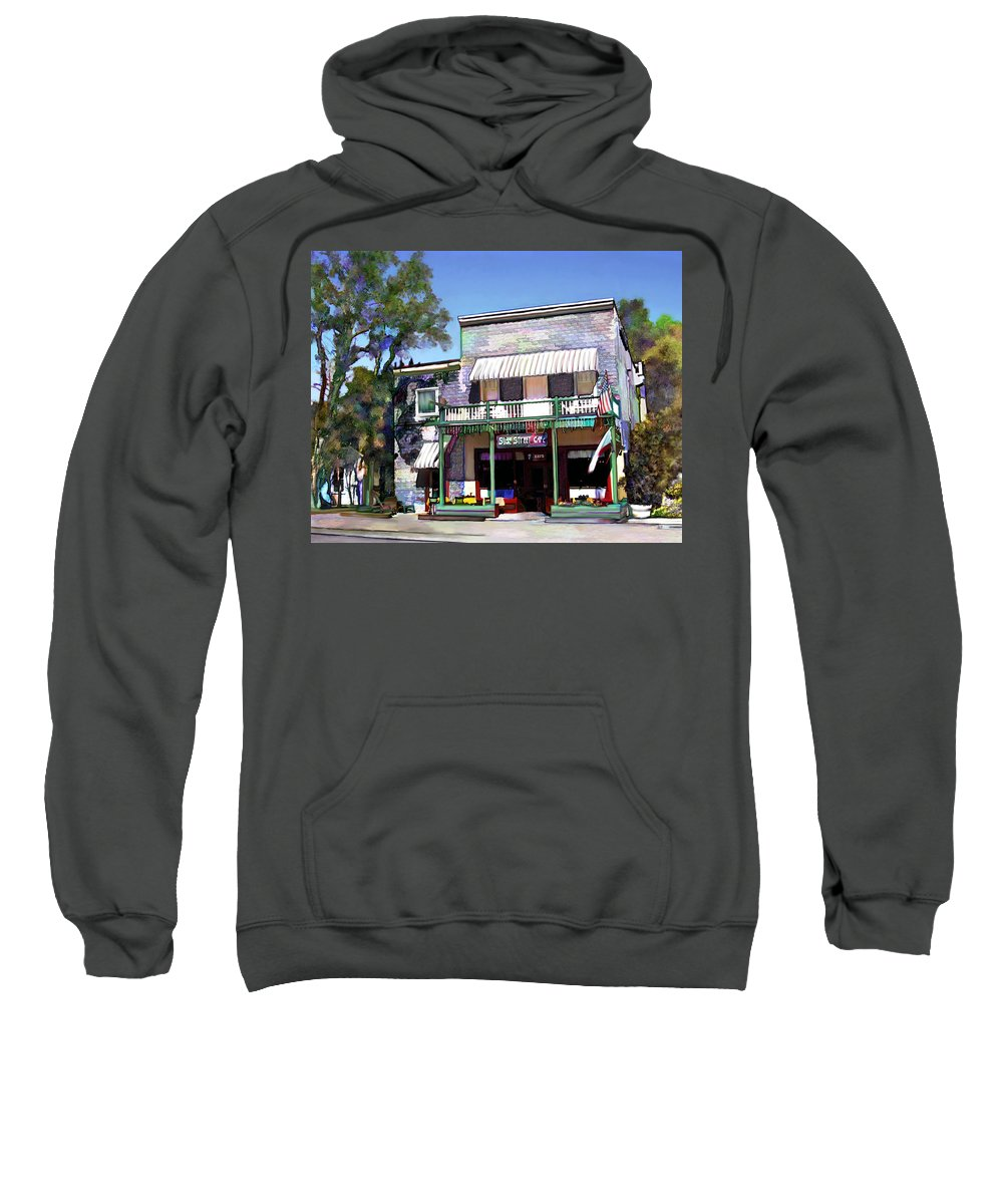 Side Street Cafe Sweatshirt featuring the photograph Side Street Cafe Los Olivos Ca by Kurt Van Wagner