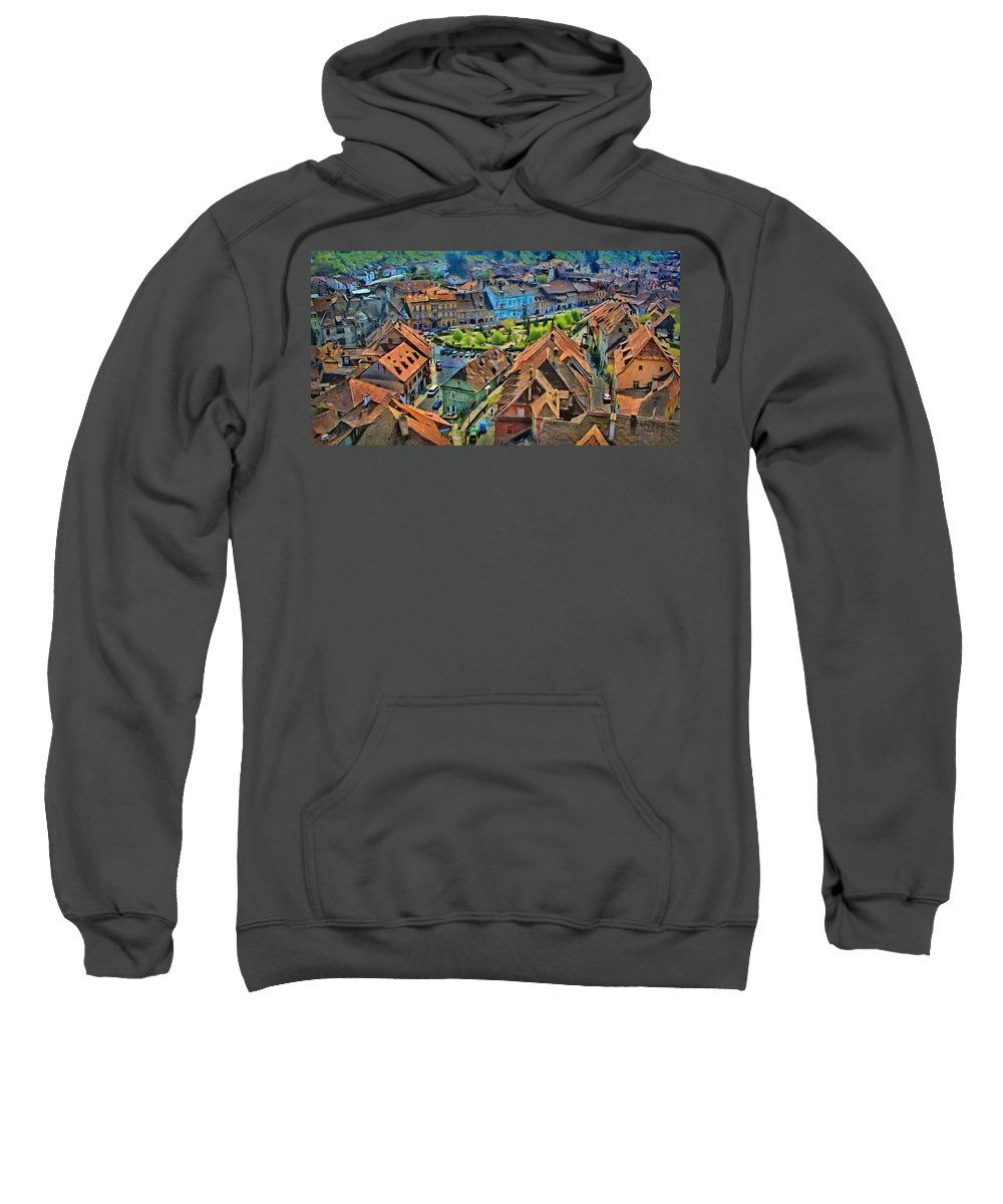 Vlad Sweatshirt featuring the painting Sighisoara From Above by Jeffrey Kolker